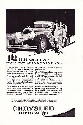 magazine ad 1928 CHRYSLER IMPERIAL 80 112 HP art deco illustration