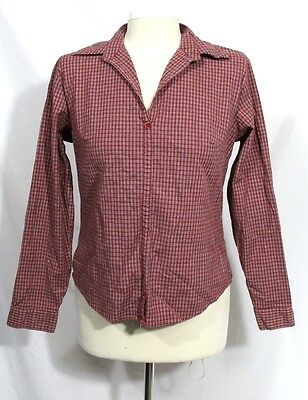 Edward - Women's M - Red Plaid Pull-Over Collared Cotton Stretch Shirt