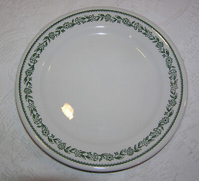 """Vintage Buffalo Pottery China Restaurant Ware Kenmore Green 9.5"""" Dinner Plate"""