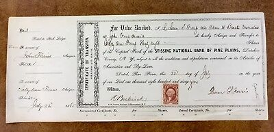 {BJ STAMPS} R 24c on PINE PLAINS NY STISSING BANK Stock certificate 1865