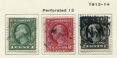 1912-1914 USA.  New Values.  Part set of 10 USED.