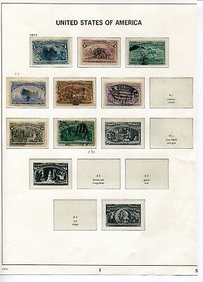 1893 USA.  Columbian Exposition, Chicago.  Part set of 8 USED.