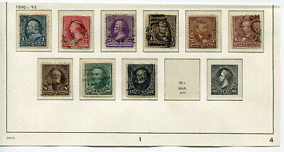 1890-1893 USA.  Part set of 9 USED.