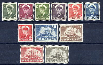 GREENLAND 1950-59  King Frederik and Ship definitive set MNH / **