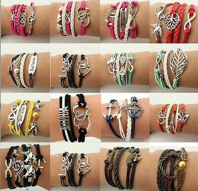 New Fashion Leather Cute Infinity Charm Bracelet Silver lots Style Jewelry@2018