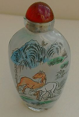 Vintage Glass Snuff Bottle With Hand Painted Horses