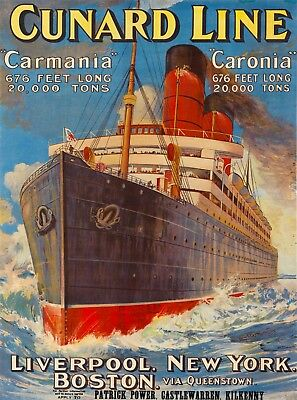 Cunard Line Carmania Vintage  Ocean Liner Cruise Ship Travel Art Poster Print