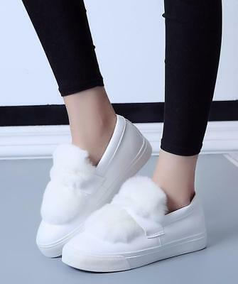 Fashion Womens Round Toe Fur Skateboard Casual Sneakers Occupational Flat Shoes