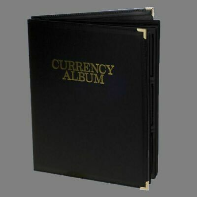 Banknotes Album Large Currency Notes 72 Notes Black Leatherette Deluxe