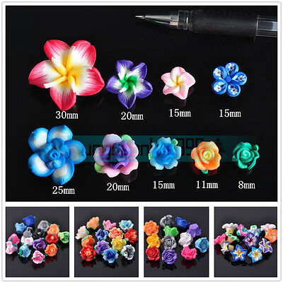 10Pcs New Flower Shape Polymer Clay Charms Beads Jewelry Findings Mixed Colors