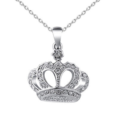 Luxury Charm Queen Crystal Crown Pendant Necklace Long  Chain Rhinestones