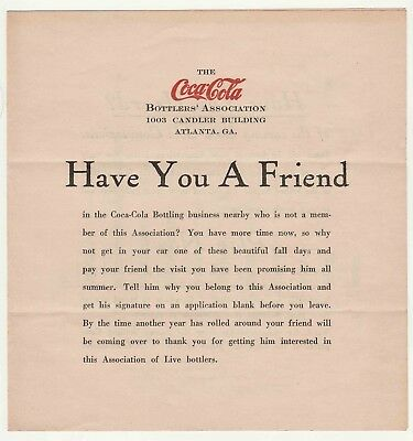 Early 1920s Atlanta, GA Coca-Cola Bottling Co. Have You a Friend Sales Booklet