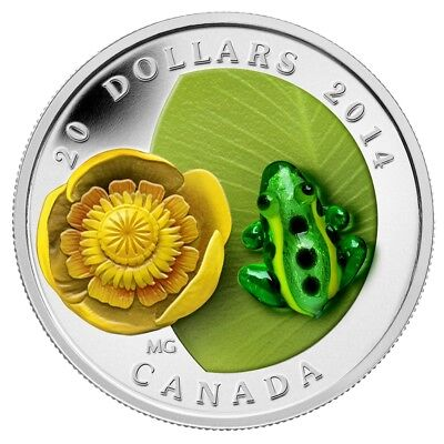 2014 $20 Fine Silver Coin - Venetian  Murano Glass -Bwater-Lily And Leopard Frog