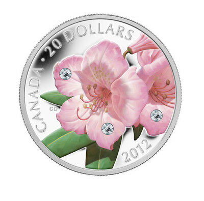 2012 $20 Fine Silver Coin - Rhododendron Wildflower - Crystal Water Droplets
