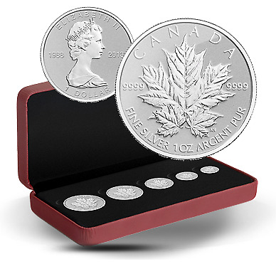2013 Fine Silver Fractional Set - 25Th Anniversary Of The Silver Maple Leaf