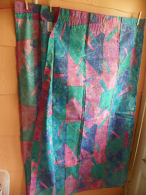 "Vintage ""springs"" Pair Of Curtain Panels & Tiebacks-Vibrant Colors-Really Nice"