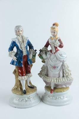 A Large Pair Of Lovely Victorian Hand Painted Porcelain Figurines