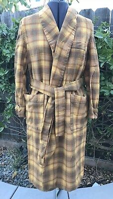 Vintage PENDLETON plaid wool bathrobe shawl collar tie belt Mustard- Sz. M