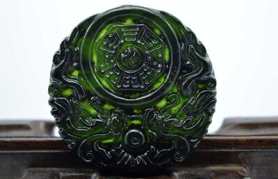 New China's natural jade nephrite carving black jade pendant Double Dragon