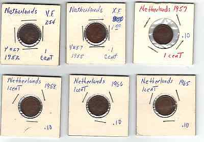 Lot of 6 Different 1950's and 1960's Netherlands Cents VF