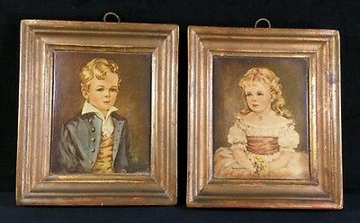 Pair of Antique Victorian Era One Piece Cast Plaster Framed Print Wall Decor