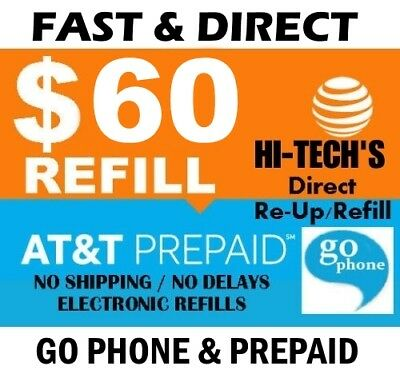 $60 At&t  > Fastest <  Go Phone Refill Re-Up Electronic Online Refill