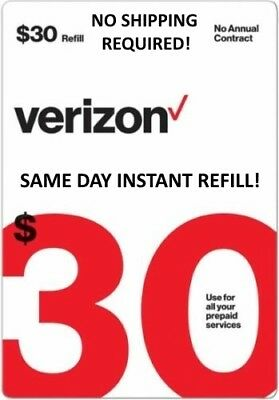 $30 Verizon >>Fastest<< Refill Re-Up Direct Electronic Refill