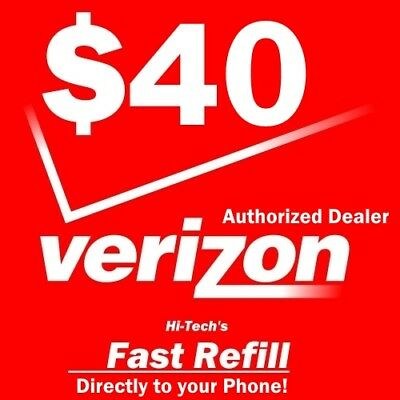 $40 Verizon >>Fastest<< Refill Re-Up Direct Electronic Refill