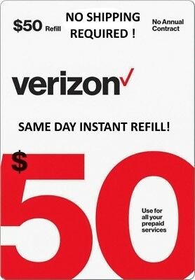 $50 Verizon >>Fastest<< Refill Re-Up Direct Electronic Refill