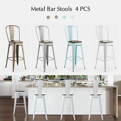 Set Of 2 4 Metal Bar Stool Retro Style Chair Handmade Wood Seat
