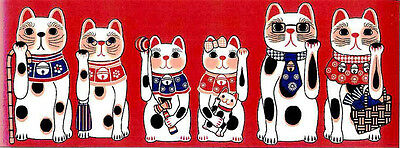 Japanese traditional towel TENUGUI Maneki neko Happy Cat RED