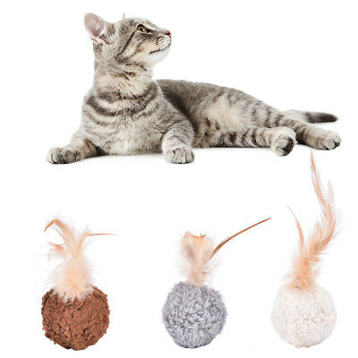 Pet cat kitten feather round plush ball mouse scratching chew toy with catnip GT
