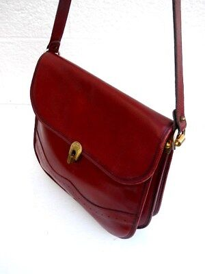 39fc79c90a Etienne Aigner Rare Unique Hand Made Classic Dark Burgundy Leather Shoulder  Bag