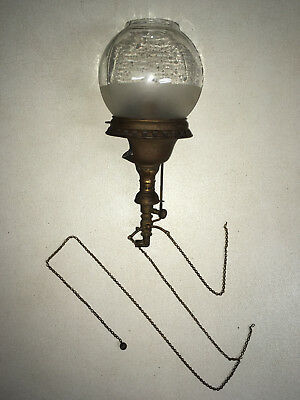 Antique 1896 Welsbach Co. Size No. 6 Reflex Gas Light Sconce With Frosted Globe