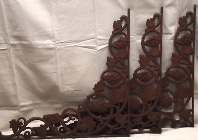 "Three Antique CAST IRON OLD GATE or SHELF Brackets, approximately 24"" x 25"""