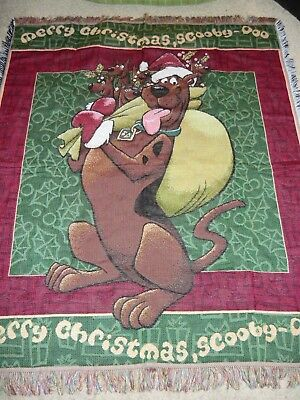 "Merry Christmas Scooby Doo Woven Tapestry Fringe Throw Blanket 47"" X 56"""