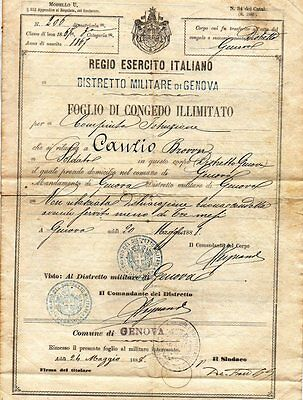 Antique Italian Army Unlimited License Document 1888 Seal Signed