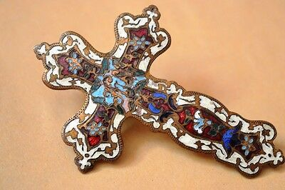 Antique Rare Metal Cross Enameled Colourful Colonial