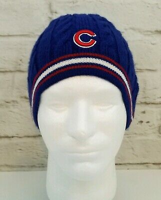 Chicago Cubs Winter Hat Cap Adult Blue Red Skiing Fan Favorite Baseball Wrigley