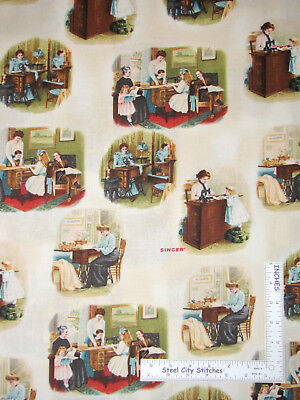 Sew Machine Vintage Antique Family Cotton Fabric Robert Kaufman By The Yard