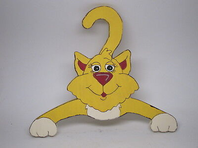 VTG Carved Painted Cartoon Cat Clothing Hanger Child's Decorative Yellow Hand
