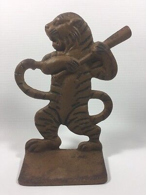 Vintage Detroit Tigers Cast Iron Bookend Door Stop Old Antique Baseball
