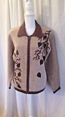 BellePointe Wool Sweater Light Brown Leaves on Vine Vintage Size Large Zippered