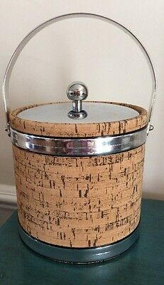 Ice bucket vintage cork look, steinless still rims, cover and handle