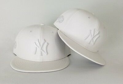 sneakers for cheap 2974c 1b7c7 New Era MLB New York Yankee 59Fifty White on White PU Pebbled Leather  Fitted hat