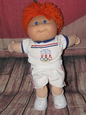 1986 Special Edition Olympikids Olympics Cabbage Patch Doll MASCOT Red Hair Blue
