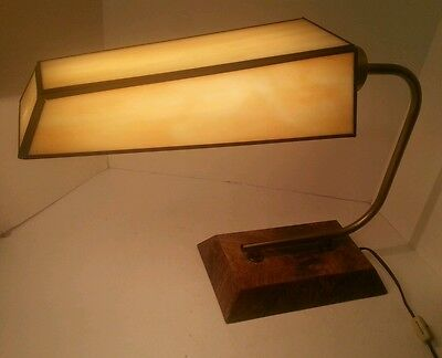 Rare Vintage Leviton Table Desk Lamp Stained glass Shade- Works Great- Gorgeous!