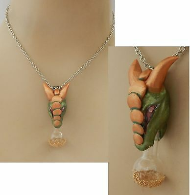 Dragon Vial Pendant Necklace Jewelry Handmade NEW Hand Sculpted NEW Clay