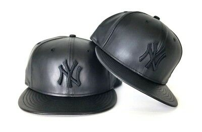 d1d4ccc447e New Era MLB New York Yankee 59Fifty Black on Black PU Faux Leather Fitted  hat