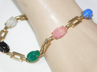 """Vintage Gold tone Carved Egyptian Scarab Glass 7.5"""" Bracelet Safety Chain 10f 45"""